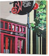 Red Cat Jazz Cafe Wood Print