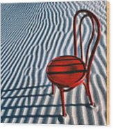 Red Chair In Sand Wood Print
