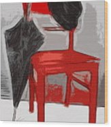 Red Chair Wood Print