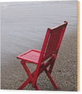 Red Chair On The Beach Wood Print