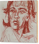 Red Charcoal Sketch 6481 Wood Print