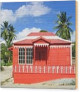 Red Chattel House Wood Print
