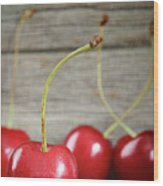 Red Cherries On Barn Wood Wood Print
