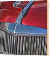 Red Chevrolet Grill And Hood Ornament Wood Print