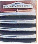 Red Chevrolet Grill Wood Print