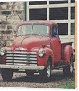 Red Chevrolet Wood Print by Stephanie Calhoun