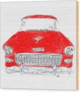 Red Chevy T-shirt Wood Print