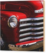 Red Chevy Truck Wood Print