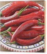 Red Chilis Wood Print