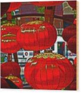 Red Chinese Lanterns Wood Print