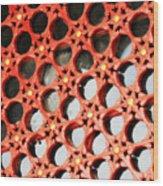 Red Chinese Window Wood Print