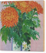 Red Chrysanthemums Wood Print