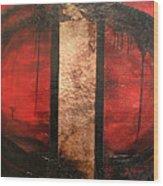 Red Circle Of Life Wood Print