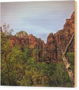 Red Cliffs Mountains Zion National Park Utah Usa Wood Print