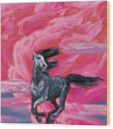 Red Cloud Horse Wood Print
