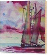 Red Cloud Sail Wood Print