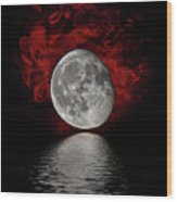 Red Cloud With Moon Over Water Wood Print