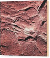 Red Colored Limestone With Grooves Wood Print