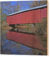 Red Covered Bridge And Reflection Wood Print