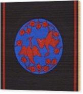 Red Cranes Wood Print