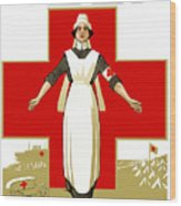 Red Cross Nurse - Help Wood Print