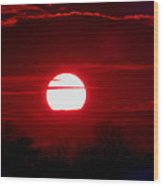 Red Cross Levee Sunset Wood Print