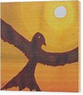 Red Crow Repulsing The Monkey Original Painting Wood Print