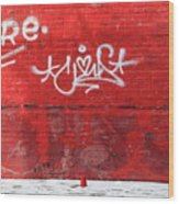 Red Cup Red Wall Wood Print