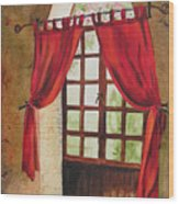 Red Curtain Wood Print