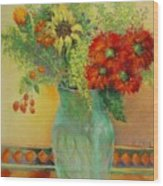 Red Daisies In Green Glass                                 Copyrighted Wood Print