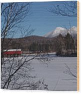 Red Dam And Percy Peaks In Winter Wood Print
