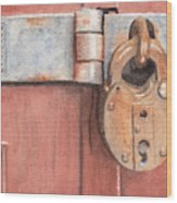 Red Door And Old Lock Wood Print