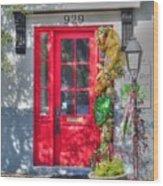 Red Door At Night -- Sailor's Delight Wood Print