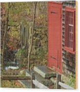 Red Door At The Grist Mill In Fall 2017  Wood Print