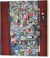 Red Doorway With Stickers Wood Print