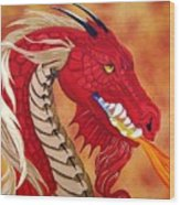 Red Dragon Wood Print