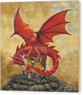 Red Dragon's Treasure Chest Wood Print