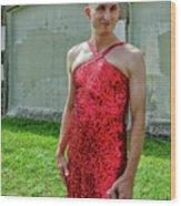 Red Dress Run - Nola 7 Wood Print