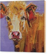 Red Earring Cow Wood Print