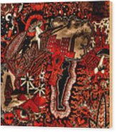 Red Existence Wood Print