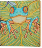 Red Eyed Tree Frog And Dragonfly Wood Print