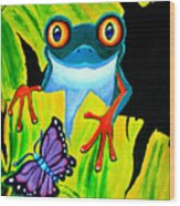 Red Eyed Tree Frog And Purple Butterfly Wood Print