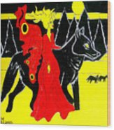 Red Faerie And Black Wolf With Yellow Moon Wood Print