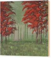 Red Fall  Wood Print