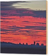 Red Farm Sunrise Wood Print