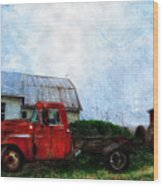 Red Farm Truck Wood Print