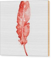Red Feather Minimalist Painting Wood Print
