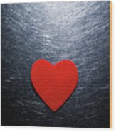 Red Felt Heart On Stainless Steel Background. Wood Print