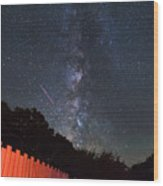 Red Fence Milky Way Wood Print