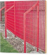 Red Fence Wood Print